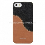 Кожаный чехол на заднюю крышку iPhone 5 / 5S Vetti Craft Prestige LeatherSnap, цвет black/ vintage brown (IPO5LESBKLCBNVT)